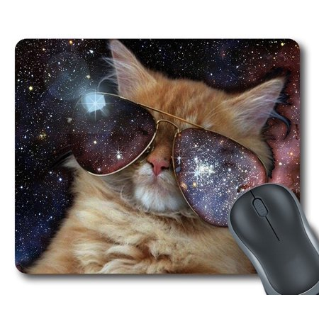 GCKG Star Galaxy Outer Space Cool Sunglass Cat Mouse Pad Personalized Unique Rectangle Gaming Mousepad 9.84