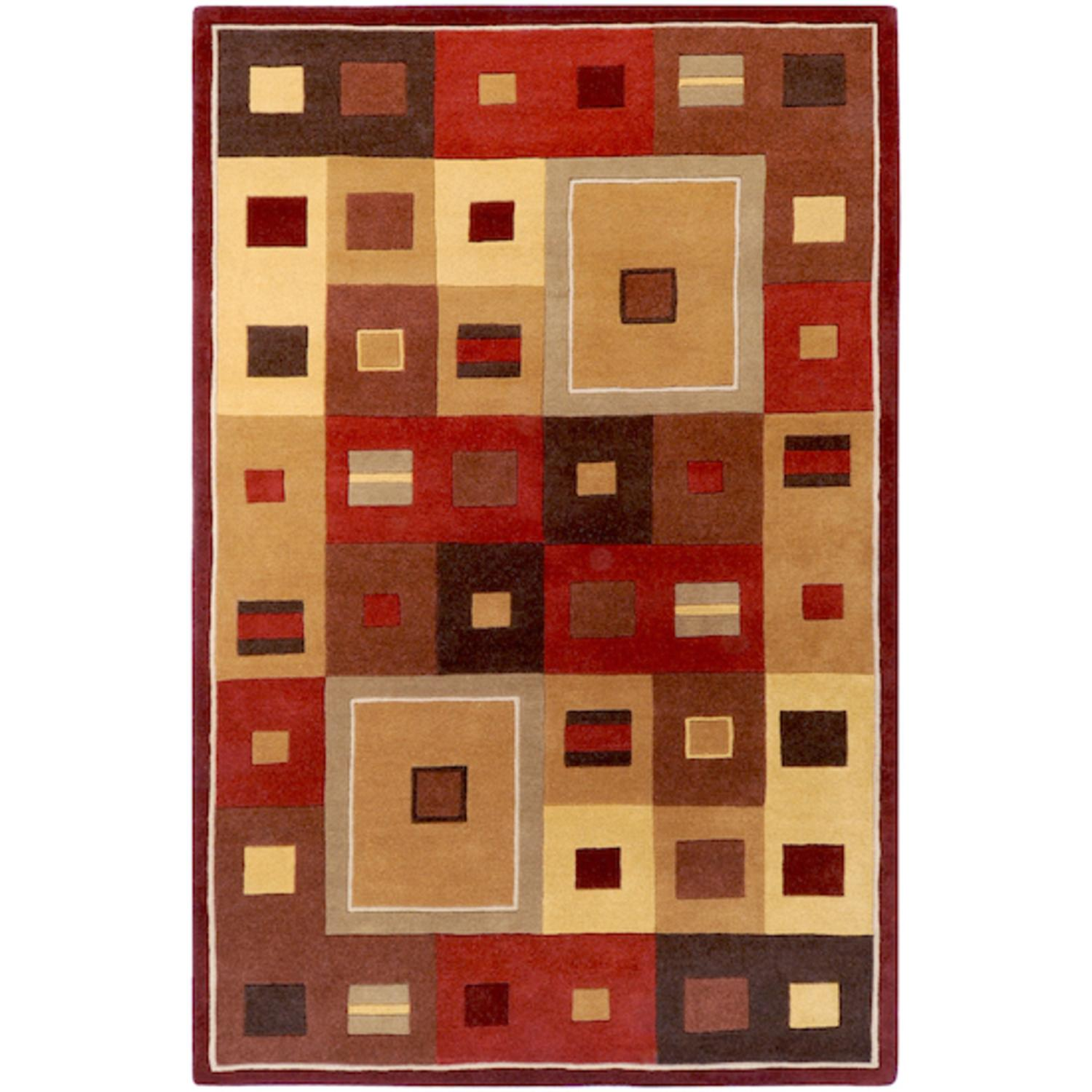 6' x 9' Kadmos Frames Sienna Red and Golden Brown Wool Area Throw Rug