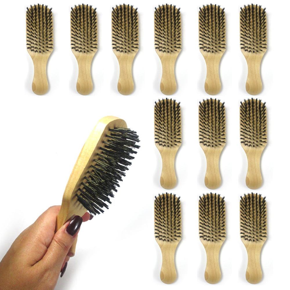 12PCS Barber Brush Nylon Bristle Stylist Wave Hair Brush Moustache Wooden  Handle