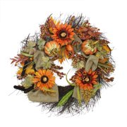 """31"""" Harvest Sunflower and Pumpkin Artificial Thanksgiving Wreath - Unlit"""