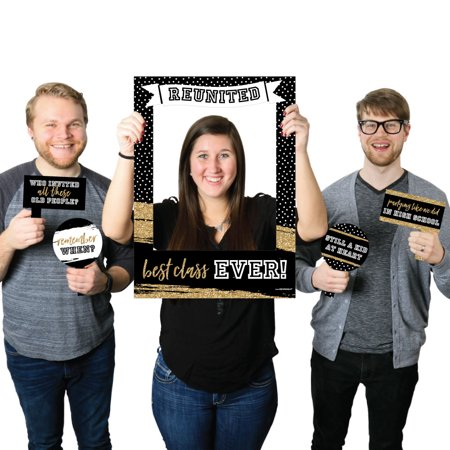 Reunited - School Class Reunion Party Selfie Photo Booth Picture Frame & Props - Printed on Sturdy Material - Class Reunion Decorations