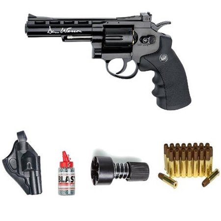 ASG Dan Wesson Revolver Steel BB Air Gun with Holster/Cartridges/Extra BBs/Speed Loader, Black, 4