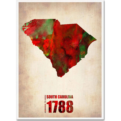 "Trademark Fine Art ""South Carolina Watercolor Map"" Canvas Art by Naxart"