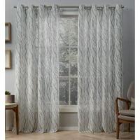 Exclusive Home Curtains 2 Pack Oakdale Motif Textured Linen Grommet Top Curtain Panels