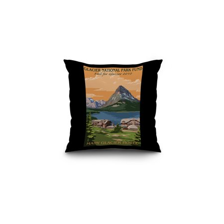 Glacier National Park Fund   Many Glacier Hotel   Lantern Press Artwork  16X16 Spun Polyester Pillow  Black Border
