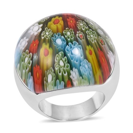 Murano Millefiori Ring (Stainless Steel Glass Statement Ring for Women Jewelry Gift Size 8)