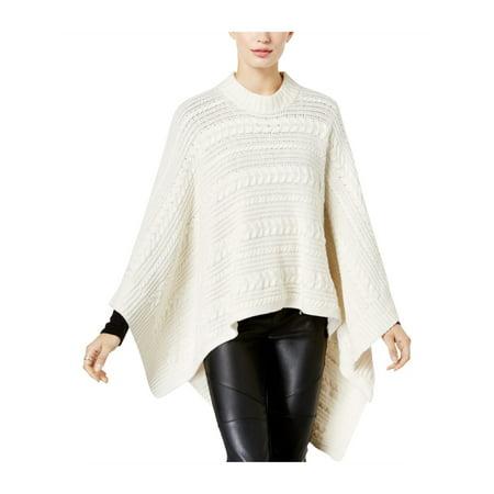 Michael Kors Womens Cable Knit Poncho Sweater bone XL