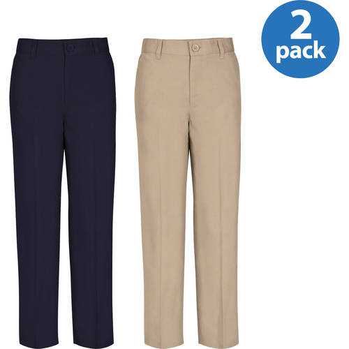REAL SCHOOL Boys Husky Size Flat Front Pants School Uniform Approved 2-Pack Value Bundle