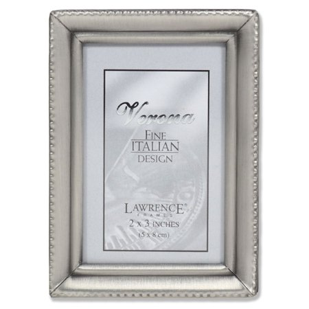 - Antique Pewter 2x3 Picture Frame - Beaded Edge Design