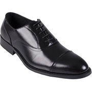 Men's Topstitched Almond Toe Leather Lace-up Oxfords