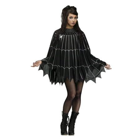 Silver Spider Web Adult Poncho Costume