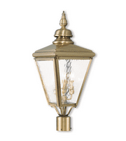 Outdoor Post 3 Light With Hand Crafted Solid Brass Clear Water Antique Brass size 27 in 180 Watts - World of Crystal