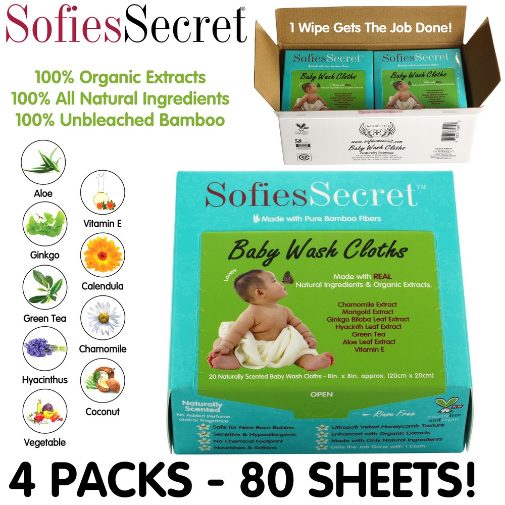SofiesSecret Fragrance FREE Bamboo Baby Wipes, 100% Organic &Natural Ingredients, 80 Count, 8  x 8 , Hypoallergenic, Sensitive
