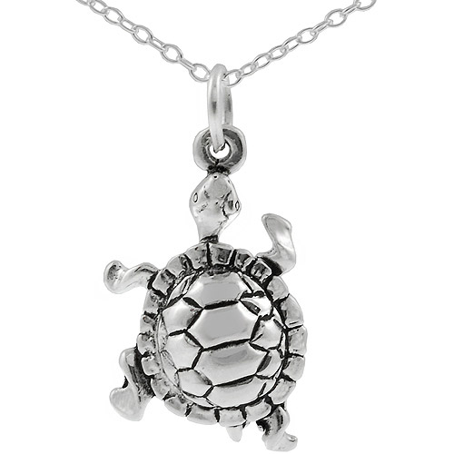Brinley Co. Sterling Silver Turtle Pendant, 18""