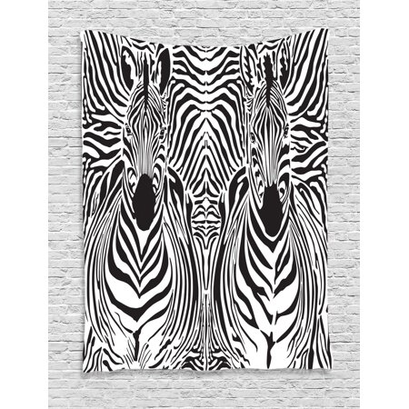 Zebra Print Decor Wall Hanging Tapestry, Illustration Pattern Zebras Skins Background Blended Over Zebra Body Heads, Bedroom Living Room Dorm Accessories, By Ambesonne