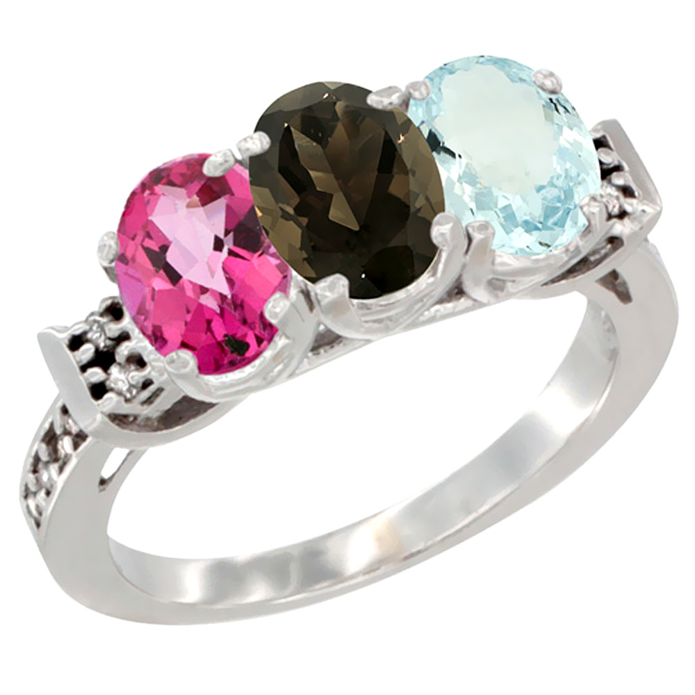 14K White Gold Natural Pink Topaz, Smoky Topaz & Aquamarine Ring 3-Stone 7x5 mm Oval Diamond Accent, sizes 5 10 by WorldJewels