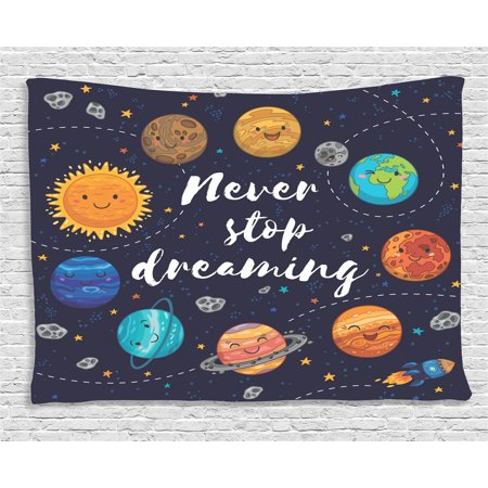 - Quotes Decor Tapestry, Cute Outer Space Planets and Star Cluster Solar Moon and Comets Sun Cosmos Image, Wall Hanging for Bedroom Living Room Dorm Decor, 80W X 60L Inches, Multi, by Ambesonne