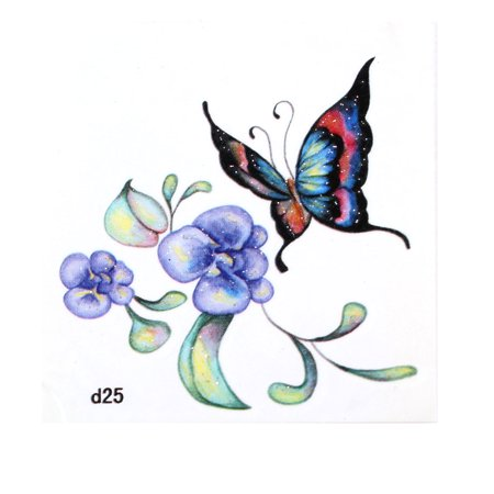 Unique Bargains Colorful Flower Butterfly Pattern Transferable Tattoos Skin Decal Decoration