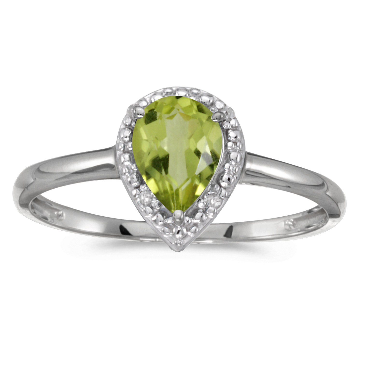 10k White Gold Pear Peridot And Diamond Ring by