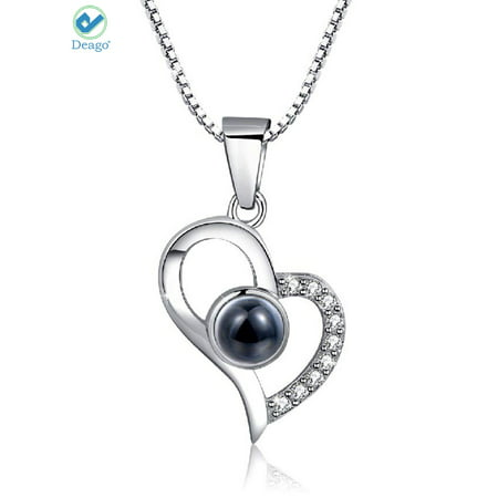 - Deago 925 Sterling Silver I Love You Necklace 100 Languages Love Pendant Gift for Women