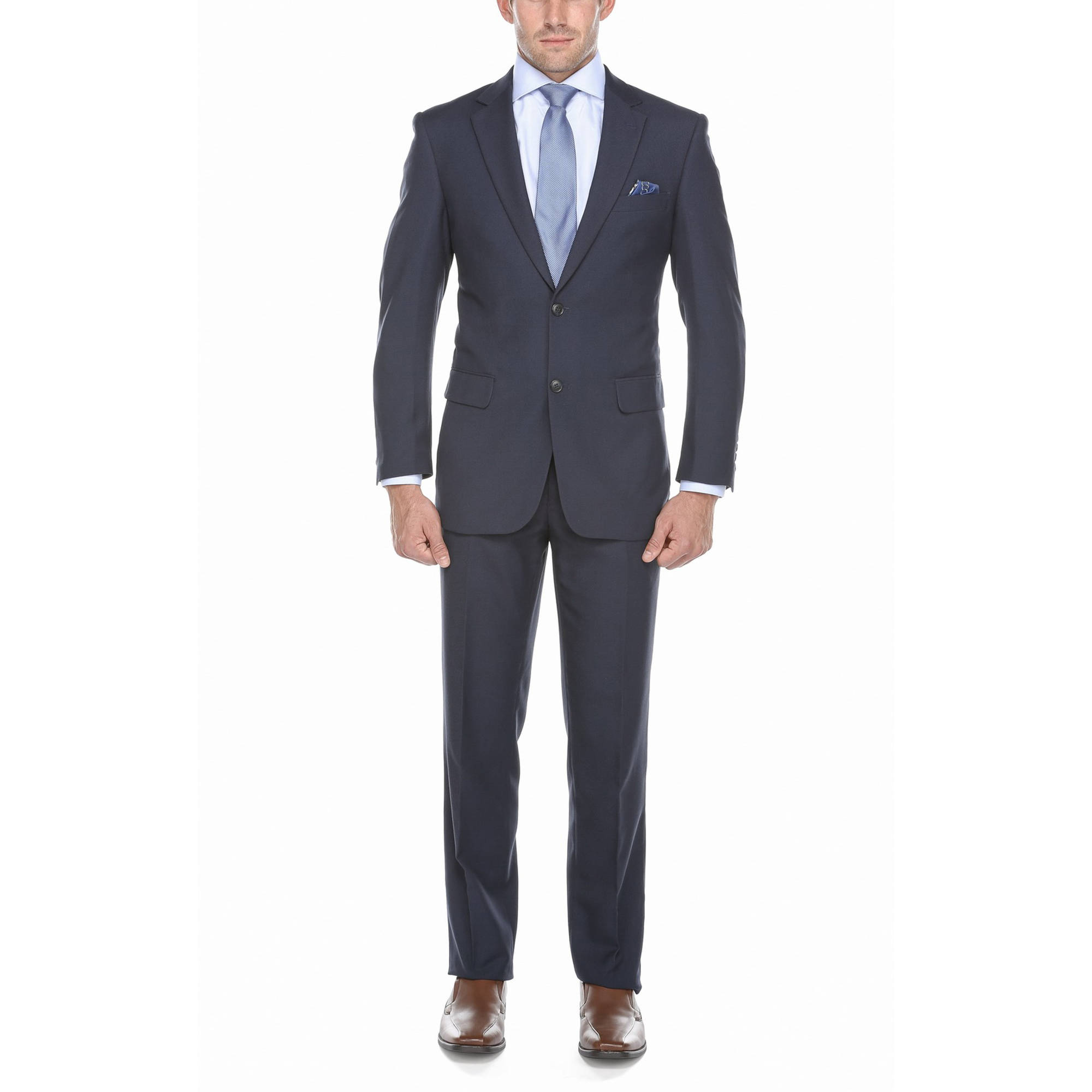 Verno Big Men's Cobalt Blue Birdseye Textured Classic Fit Italian Styled Two Piece Suit