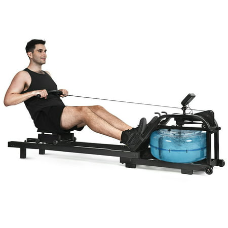 Costway Health Fitness Water Rowing Machine Rower Adjustable Resistance Home Exercise (Rowing Machine Mat)