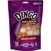 Dingo Indulgence Mini Bones, Peanut Butter Flavor, 12 Count