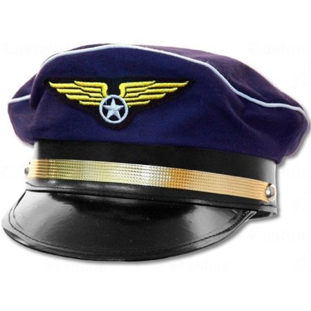 Adult Navy Blue Pilot Hat Air Line Airline Aviator Force Costume Accessory - Airplane Pilot Hat