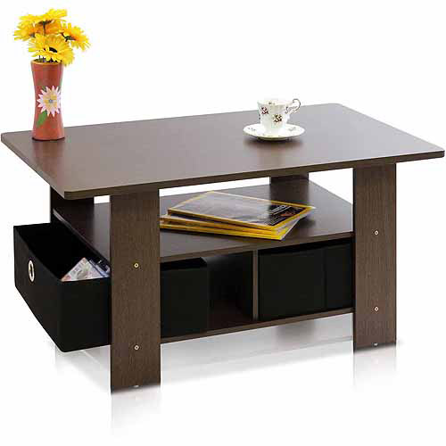 Petite Coffee Table with Foldable Bin Drawer, Multiple Colors Image 2 of 8