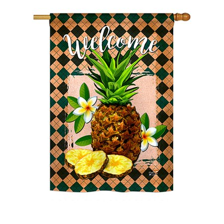 Pineapple Welcome House - Welcome Pineapple Food - Everyday Impressions Decorative Vertical House Flag - Printed in USA