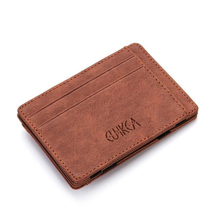 Slim Wallet Magic Credit Card Holder Coin Bag Money Clip Billfold Faux Leather (Magic Money Clip)