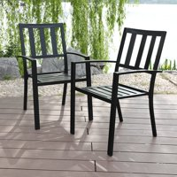MF Studio Metal Patio Outdoor Dining Chairs Set of 2 Stackable Bistro Deck Chairs for Garden Backyard Lawn Support 300LB, Black
