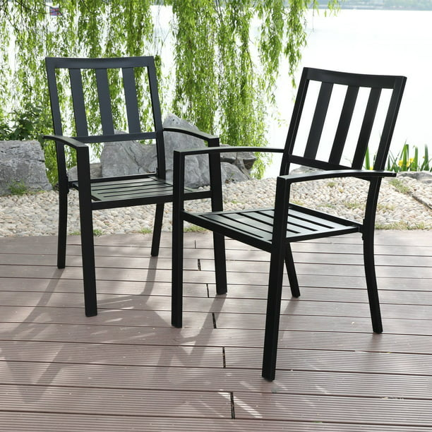 Mf Studio Metal Patio Outdoor Dining Chairs Set Of 2 Stackable Bistro Deck Chairs For Garden Backyard Lawn Support 300lb Black Walmart Com Walmart Com