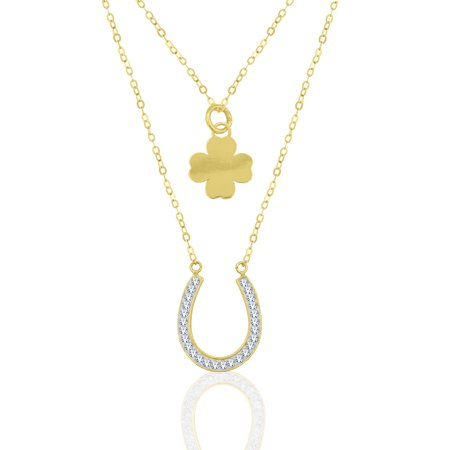Yellow Gold Plated Crystal Horseshoe and Four Leaf Clover Necklace Set