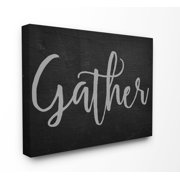 The Stupell Home Decor Collection Gather Black and Grey Typography Stretched Canvas Wall Art, 16 x 1.5 x 20