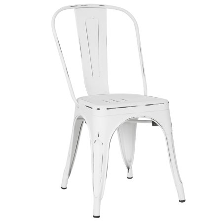 Poly and Bark Trattoria Side Chair in Distressed White