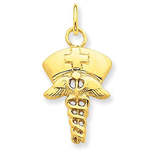 14K Yellow Gold Nurse Symbol Charm Pendant
