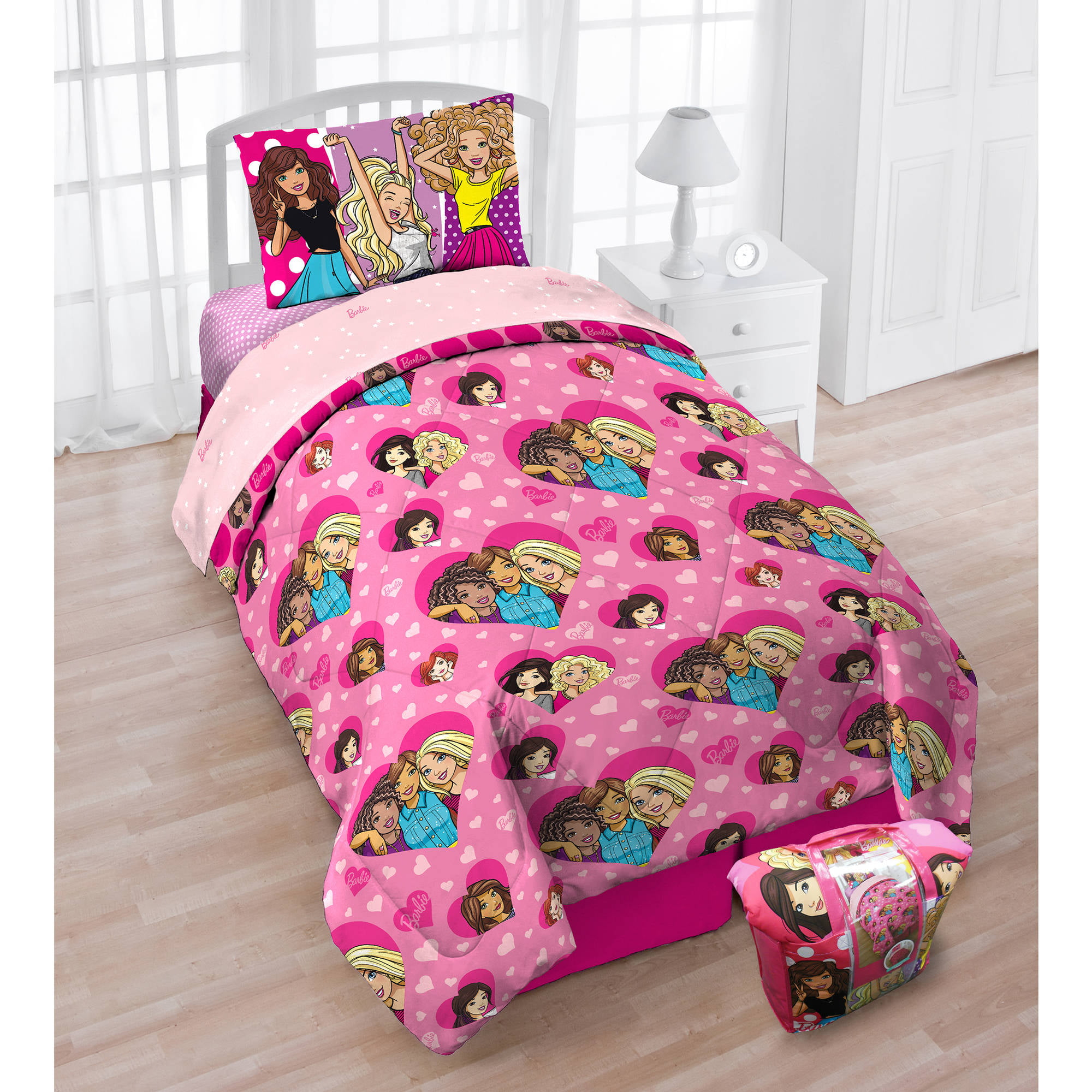 Mattel Barbie 'B Anything' 4-Piece Twin Bedding Set with Bonus Tote, Exclusive by Franco
