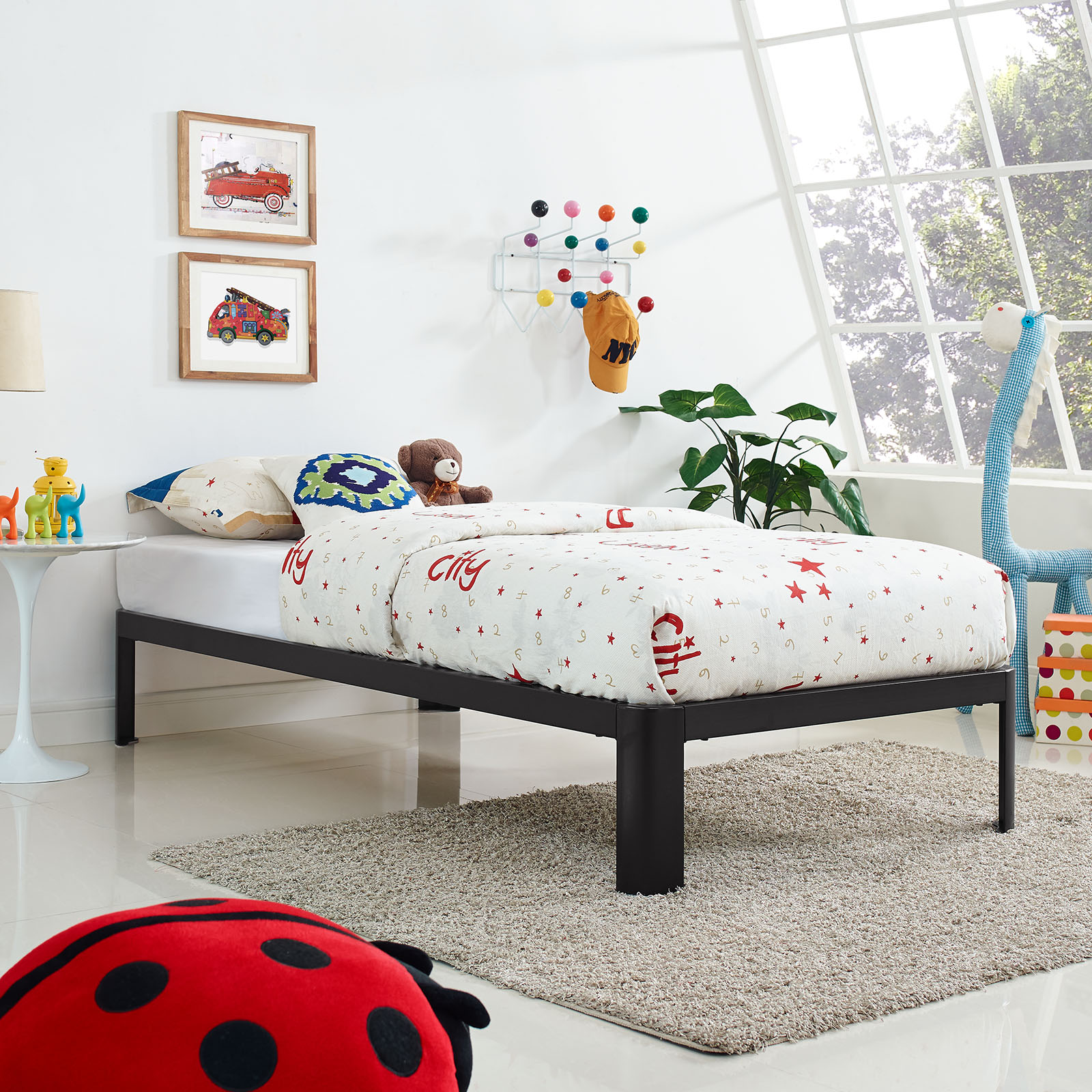 Modway Corinne Kids Twin Stainless Steel Bed Frame, Multiple Colors