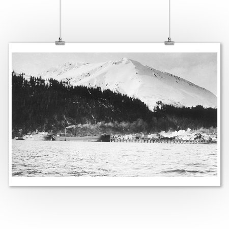 Seward  Alaska   Harborview Of City And Snowy Mountains In The Distance  9X12 Art Print  Wall Decor Travel Poster