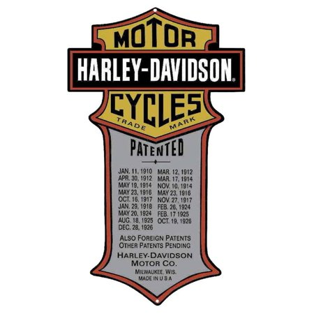 Black Grey Peace Sign (Harley-Davidson Patented Dates Tin Metal Sign 11 x 18 Inches 2010181, Harley Davidson)