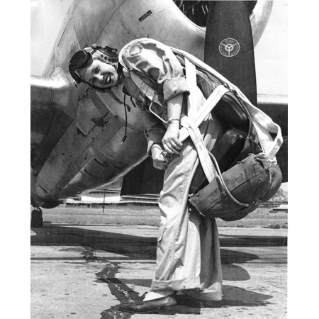 LAMINATED POSTER Deanie Parish as a WASP on the flightline at Tyndall Air Force Base, Fla., in the early 1940s. Poster Print 24 x 36