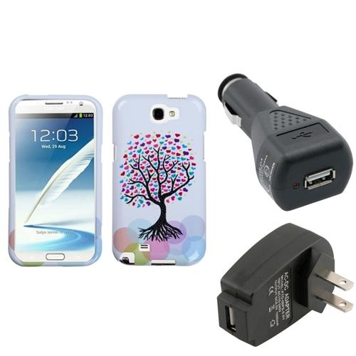 Insten Love Tree Hard Case Car Home Charger Adapter For Samsung Galaxy Note 2 II
