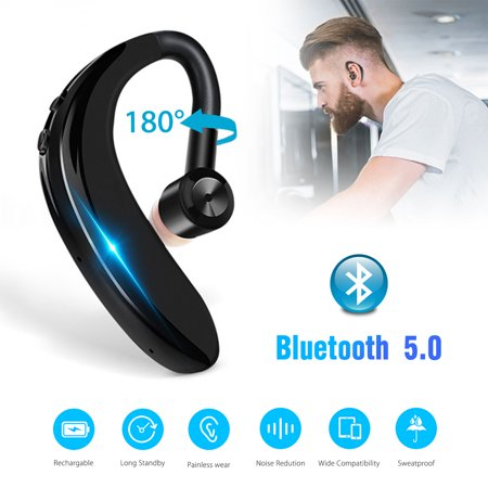 EEEKit Wireless Bluetooth Headset, Handsfree Earpiece V5.0 20 Hours Talktime Stereo Noise Cancelling Headphone with Mic for Cell Phone, Skype, Truck Driver, Call