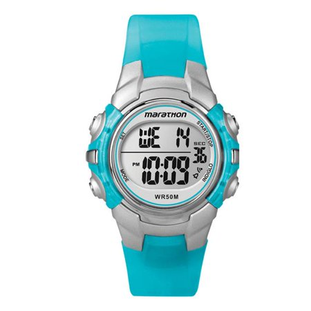 Marathon Sports Watch Women Round Digital Resin Water Resistant - Blue Multi Gemstone Watch
