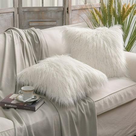 New Fur Felt - Set of 2 Throw pillow Covers Faux Fur Phantoscope Decorative New Luxury Series Merino Style Off White Faux Fur Throw Pillow Case Cushion Cover 18