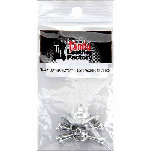 Leather Factory 1 Inch Concho Screwback-Cowboy Skull&Crossbone Silver