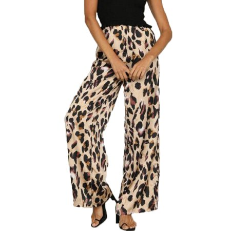 Leopard Heart Pants - JustVH Women's High Waisted Leopard Printed Wide Leg Palazzo Pants