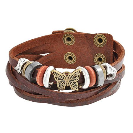 Butterfly Charm Brown Leather Multi Strand Wrap Cuff Bracelet For Women For Teen Oxidized Gold Plated Stainless Steel ()