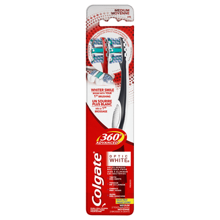 Colgate 360 Advanced Optic White Toothbrush, Medium - 2